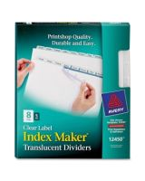 "Avery Index Maker Easy Apply Clear Label Divider - 8 x Divider(s) - Blank Tab(s) - 8 Tab(s)/Set - 8.50"" Divider Width x 11"" Divider Length - Letter - 3 Hole Punched - Plastic Divider - Clear Tab(s) - 5 / Pack"