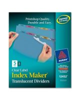"Avery Index Maker Easy Apply Clear Label Divider - 5 x Divider(s) - Blank Tab(s) - 5 Tab(s)/Set - 8.50"" Divider Width x 11"" Divider Length - Letter - 3 Hole Punched - Plastic Divider - Assorted Plastic Tab(s) - 5 / Pack"
