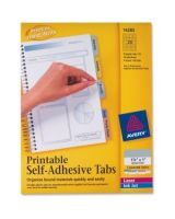 "Avery Printable Self-Adhesive Tab - Print-on Tab(s)1.75"" Tab Width - Self-adhesive, Removable - Assorted Tab(s) - 80 / Pack"