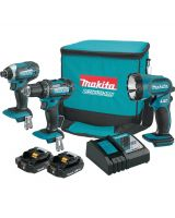 Makita CT320R 18 Volt Compact Lithium-Ion Cordless 3-Piece Combo Kit (Driver-Drill/ Impact Driver/ Flashlight) 2.0 Ah